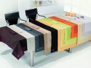 Mantel de mesa de hilo tintado con aplique y Servilletas