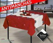 Mantel de Navidad Rojo y Blanco con cenefa con (TEFLÓN) Antimanchas MAGIC-2