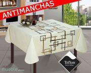 Mantel moderno Antimanchas de mesa con cuadros y fondo crudo-beig PERFIL-2