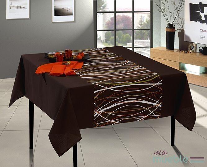 Mantel de mesa moderno marr n con cenefas mara manteles for Manteles de mesa