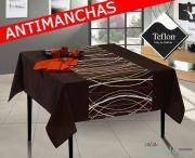 Mantel antimanchas teflón marrón moderno con cenefas MARA-2