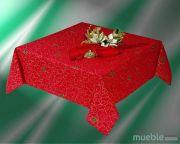 Mantel de Navidad rojo con guirnalda CINTA