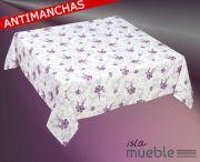 Mantel antimanchas de flores PRIM 2 lila