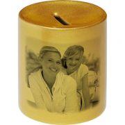Hucha cerámica dorada