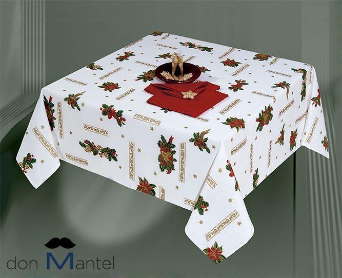 Mantel navidad blanco lazo a manteles de navidad don - Manteles para navidad ...