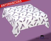 Mantel antimanchas estampado PLUMAS 2 lila