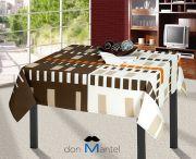 Mantel de mesa con cuadros y cenefas marrón y beig COLE